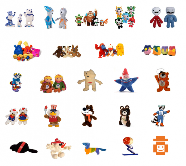 Olympic mascot toys Sochi 2014 to 1968
