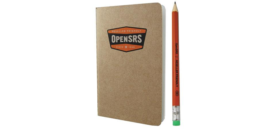 OpenSRS Custom Notebook and pencil